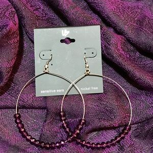 Purple Hoop Dangle earrings